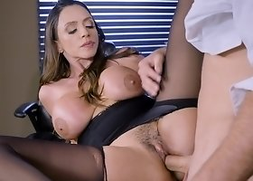 Big titted woman is riding hard cock