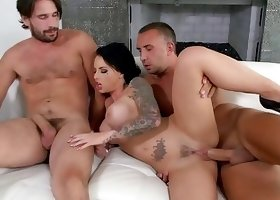 Tattooed goddess nailed hard by two big boners