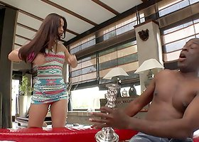 Randy slut sucks and rides a huge black cock in interracial video