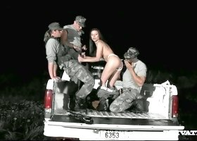 Three kinky military men fuck sexy brunette bitch Vanessa May in pick up