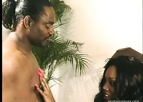 Buxom ebony lady can't get enough of that huge black rod drilling her hairy peach