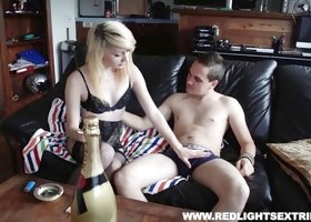 Skinny blonde escort makes a home visit to get fucked