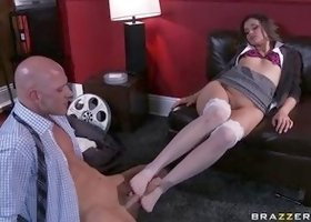 Gorgeous dusky Allie Haze in real foot fetish porn