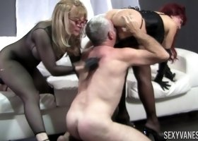Nina Hartley and Sexy Vanessa having fun with an ancient stud