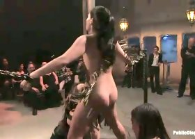 Sexy babe with small tits Jade Indica gets her pussy punished in public room