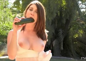 Her big cucumber is better than any dick fucking her pussy