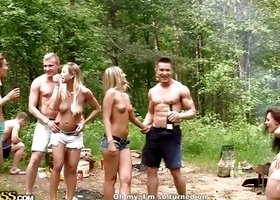 A Really Hot College Orgy In The Woods