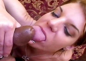 Kayla Quinn sucks and rides two cocks and gets a facial cumshot