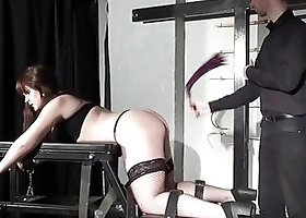Busty brunette submissive wife loves getting whipped by her master/husband