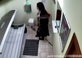 Hot Czech nympho in thong caught on hidden camera in a solarium