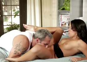 A hot Latina with a nice ass is getting fucked by an older dude