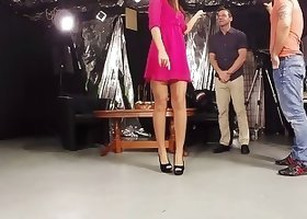 Long-legged beauty takes off her spicy pink dress