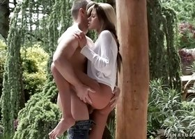 romantic girl aliyah gets fucked in standing up position in a garden
