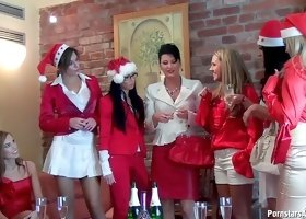 Lesbian pissing fun at a Christmas orgy