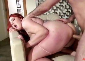 Fat bitch with super big saggy boobs James Deen is fucked by one kinky dude