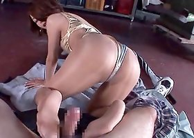 Hot Asian Rio drives a man crazy with a passionate footjob