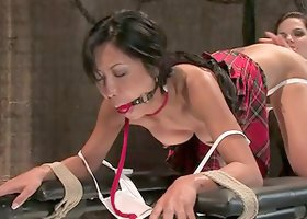 Tia Ling gets bounded and toyed by hot Bobbi Starr