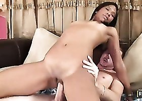 Dark skinned Asian vixen bounces on big dong