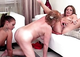 Young sluts and a lusty granny eating cunt