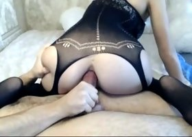 Lewd gorgeous bubble butt beauty rides my friend's strong dick