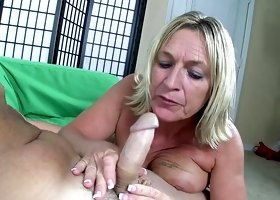 Beauty blonde is giving a blowjob