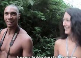 Stunning slender brunette with a captivating smile gets picked up by a black stud