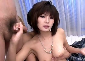 Azumi Harusaki loves swallowing semen and she is a good fellatio performer