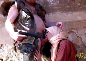 Beautiful Arab woman sucks a horny French soldier