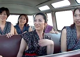 Three Japanese MILFs rides a dick in an apartment