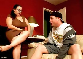 Curvaceous Devyn Devine gives a titjob and gets rammed