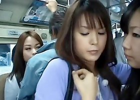 Upskirt Shot of a Gorgeous Asian in a Crowded Bus