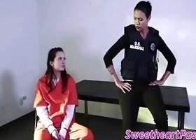 Cute Gia Paige and Dana Vespoli in lesbian prison sex licking and lapping hot wet boxes